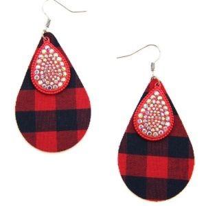"Drop Plaid Earrings rhinestones 2.25"" x 1.5"""